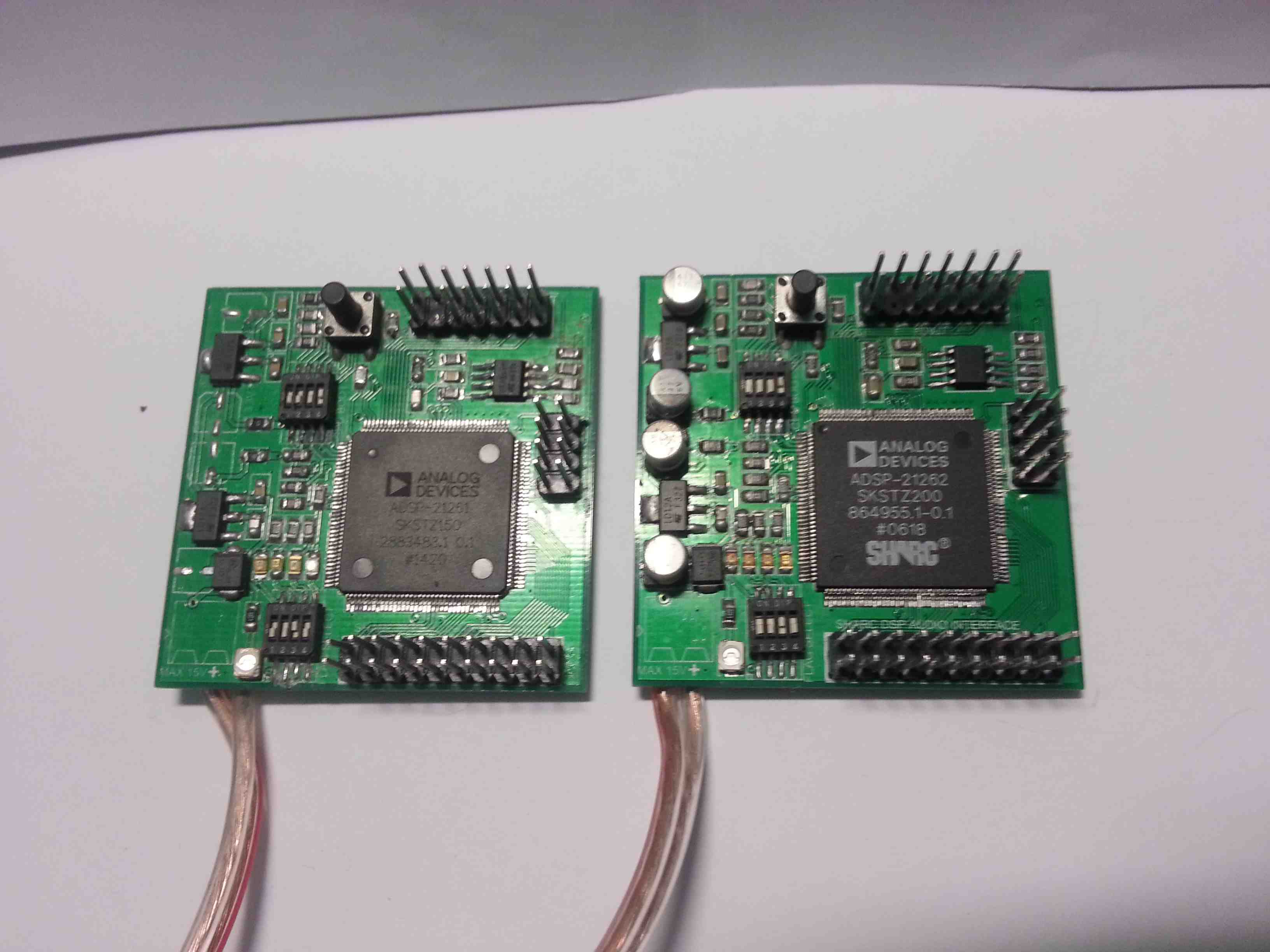 Assembled SHARC prototype DSP boards capable of processing up to 16-Channels of audio